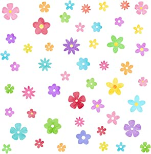 Colorful Small Flower Wall Decals Daisy Flower Wall Stickers Watercolor Flower Wall Decals for Nursery Girl Bedroom Kids Room Decor