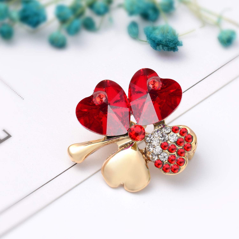 18K Plaqu/é Or Cha/îne ou pour Les Cadeau Filles Dames Cristal Quatre Feuilles de Tr/èfle Collier Joyfulshine Collier Femmes Pendentif