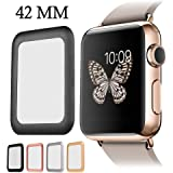 For Apple Watch Screen Protector, AYAMAYA Full Screen Coverage [Real Tempered Glass] Bumper Case with 3D Curved Edge & High Defintion for Apple Watch 42mm (Black)