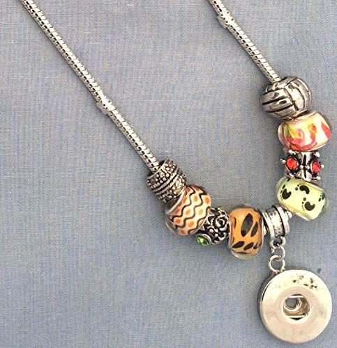 Random Bead & Charm Cobra Chain Necklace Fit Ginger Snaps Style Snap Buttons SE-2456