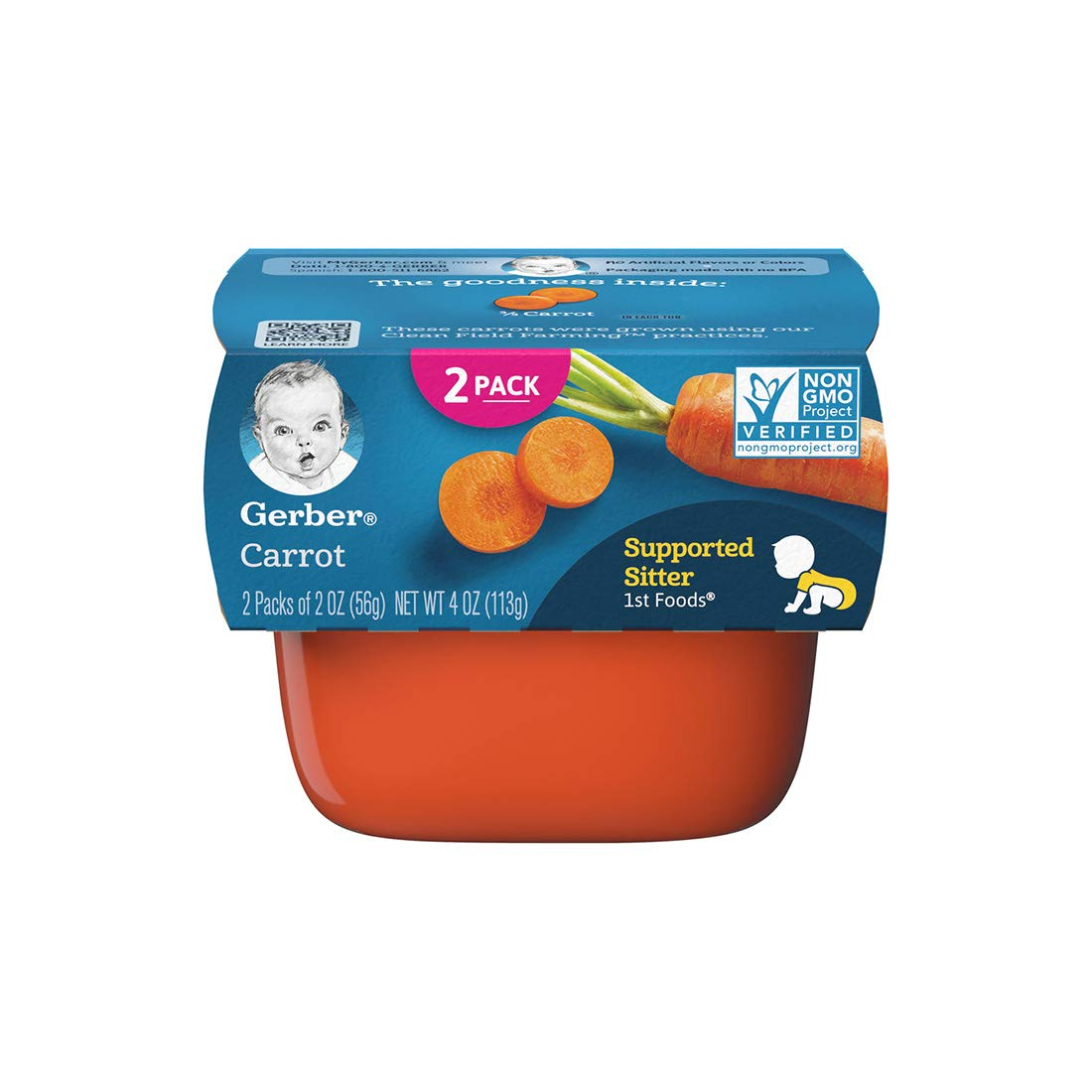 Gerber Purees 1st Foods Carrot Tubs, 2 oz, 2 ct