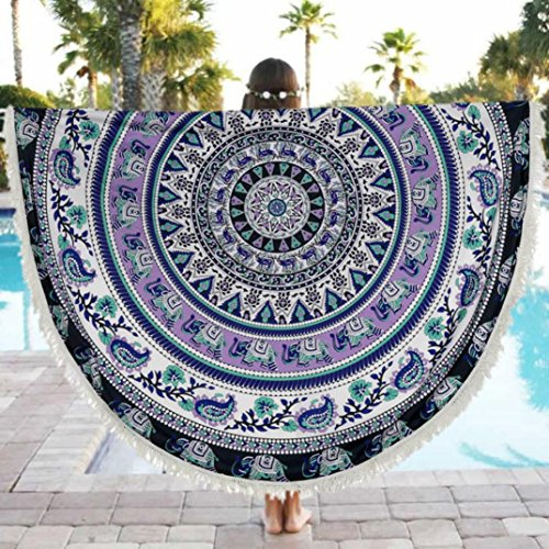 Oksale® Round Tassels Hippie Tapestry Beach Pool Cover Up, 59 × 59 Inch ,Blanket Table Cloth, Boho Roundie Mandala Throw Swimming Towel Kimono Suit Tunic (Beaded Linen Tunic)