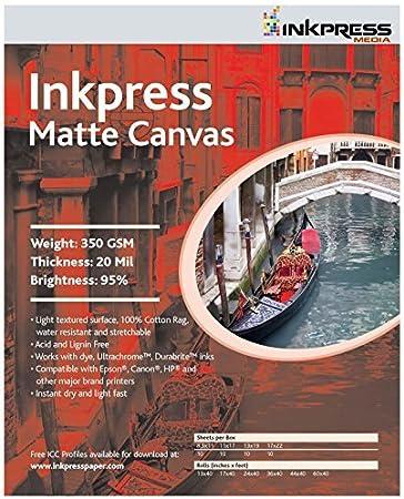 "10 Sheets 8.5x11/"" Inkpress Media Metallic Canvas Inkjet Printer Paper"