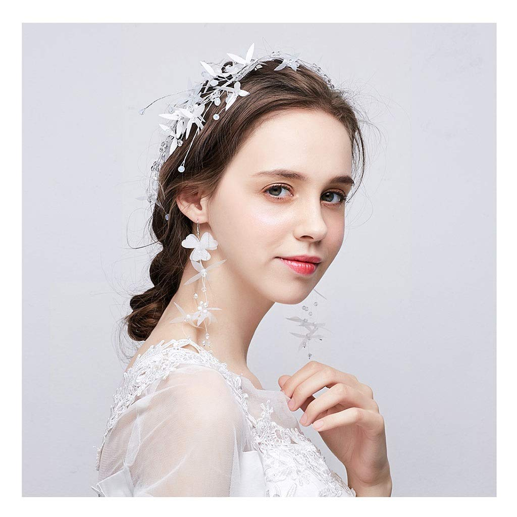 Wreath Flower Bride Tiara Hair Accessories White Fairy Wedding Accessories Wedding Jewelry (Size : 45cm) by Wreath
