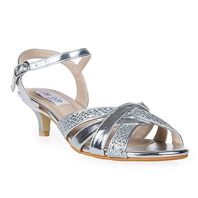 b106f9f4d5b6 SheSole Womens Ladies Glitter Low Heel Sandals Wedding Evening Prom Dress Shoes  Silver UK 9