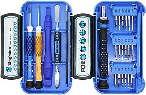Kingsdun 24pcs iPhone 7 Repair Tool Kit for Apple iPhone 6/6S/5/5C/5S/4S, Ratcheting Screwdriver Bit Set with Metal Spudger Opening Pry Tools & ESD Tweezers in Mini Pocket Box