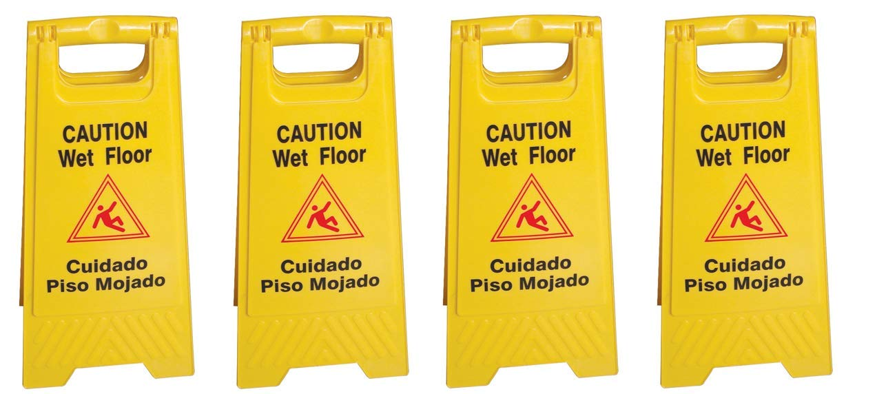 Pack of 4   AmGood Janitorial Caution Wet Floor   24'' Yellow Safety Sign   Easy To Fold   English & Spanish