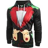 da7dc081a677e Men s 3D Ugly Christmas Hoodie Novelty Suit Pattern Printed Long Sleeve Sweatshirt  Kangaroo Pockets Pullovers Sweaters