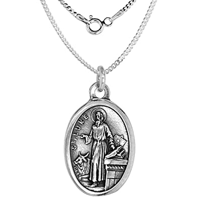 f030fbb90b6fb Amazon.com  Sterling Silver St Luke Medal Necklace Oval 16 inch 1.8mm  Chain  Jewelry