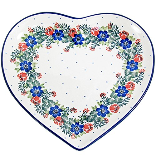 (Polish Pottery Handmade 9'' Heart Plate-Dish 925-Festive Garland)