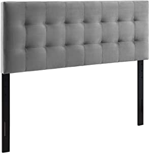 Modway Lily Queen Biscuit Tufted Performance Velvet Headboard, Gray