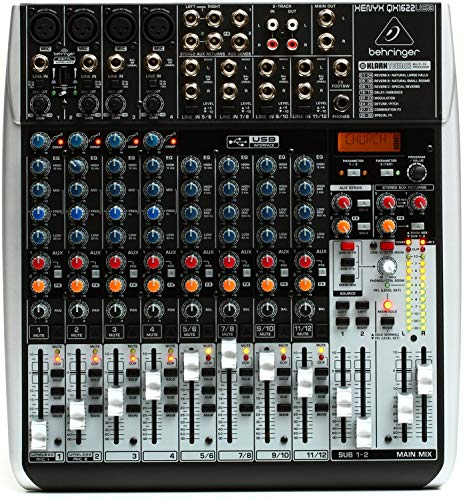 - BEHRINGER QX1622USB Premium 16-Input 2/2-Bus Mixer with Xenyx Mic Preamps & Compressors Klark Teknik Multi- FX Processor, Black