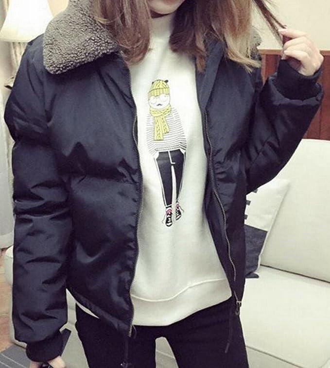 da5349af2ff Amazon.com  SHOWNO Womens Basic Warm Lapel Collar Wool Plus Size Short  Puffer Jacket  Clothing
