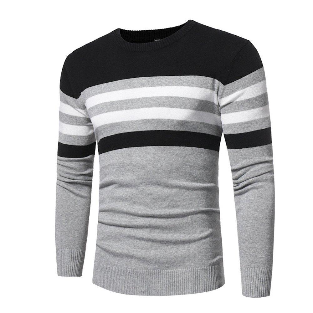Gndfk Casual - Mode - Pullover, Reine Farbe Streifen Kragen, Lange ärmel männer Pullover Pullover,hellgrau,m