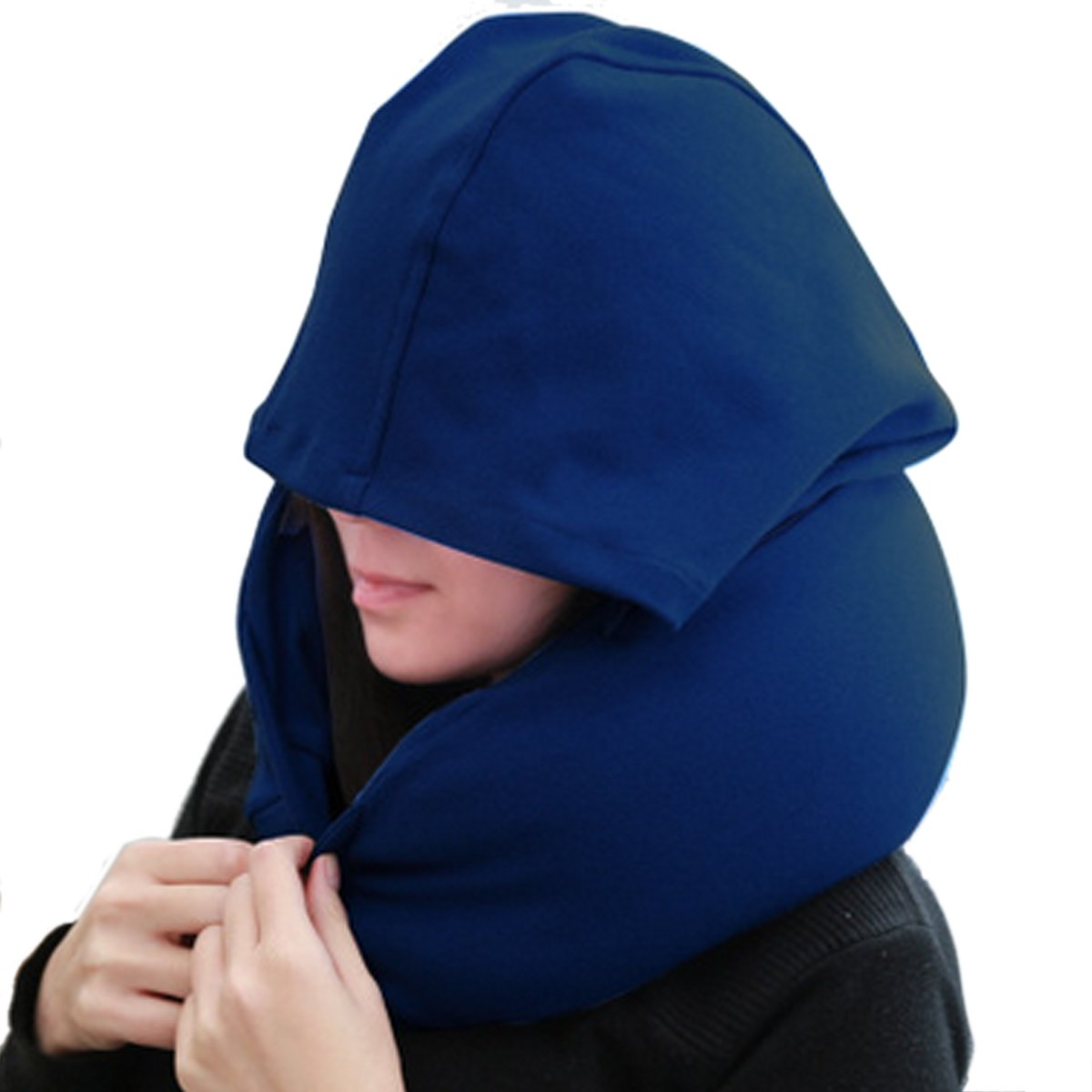 Travel Hoodie Neck Pillows with Cap U-shape Pillow for Napping in the car/airplane/bus/train/lunch break
