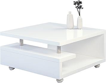 HomeTrends4You 131450 Tilda Couchtisch, Holz, weiß hochglanz, 80 x ...