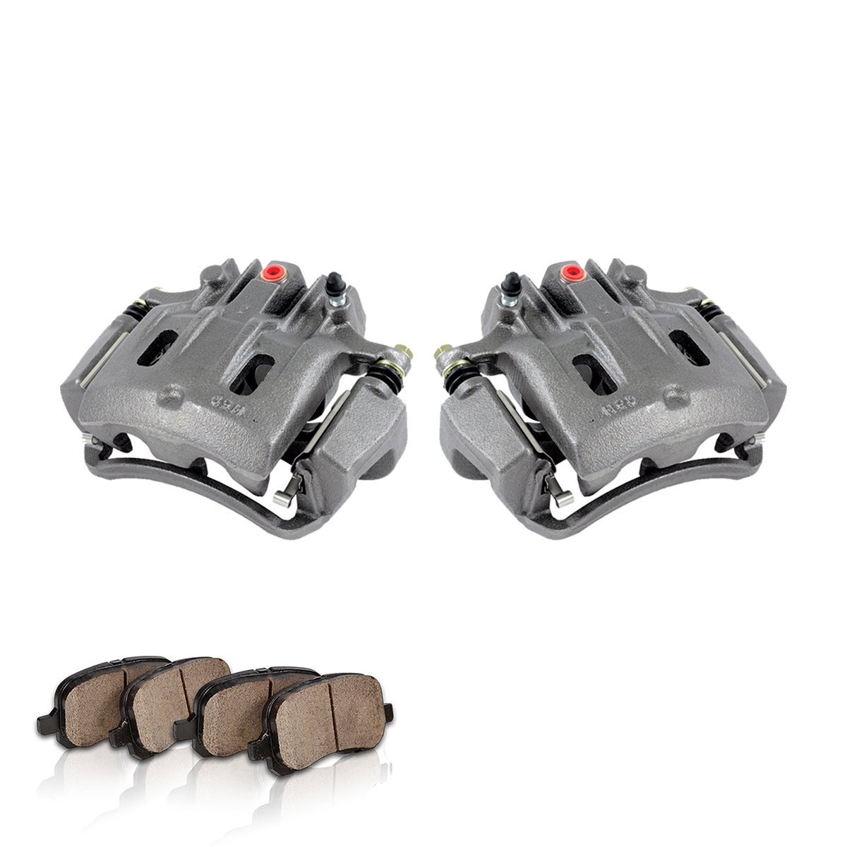 COEK00468 [2] REAR Premium Loaded OE Caliper Assembly Set + Quiet Low Dust Ceramic Brake Pads by Callahan Brake Parts