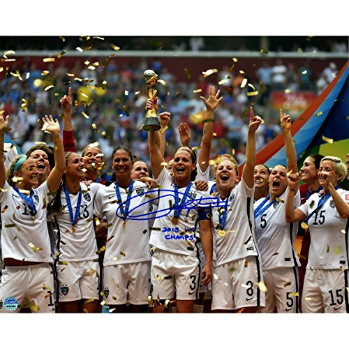 MLS USA Soccer Team Christie Rampone Signed Team USA 2015 Women's World Cup Final Trophy 8x10 Photo