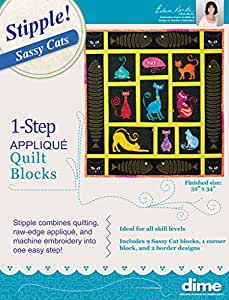Stipple Sassy Cats Machine Embroidery Quilt Applique Pattern Designs CD and Patterns