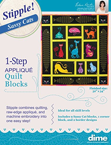 (Stipple Sassy Cats Machine Embroidery Quilt Applique Pattern Designs CD and Patterns)