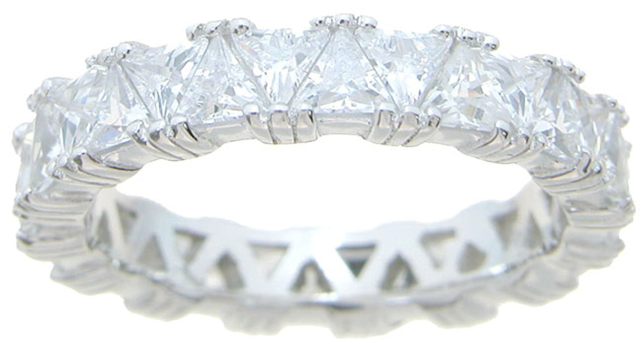 Trillion Cut CZ Sterling Silver Vintage Wedding Anniversary Band for Women (7)