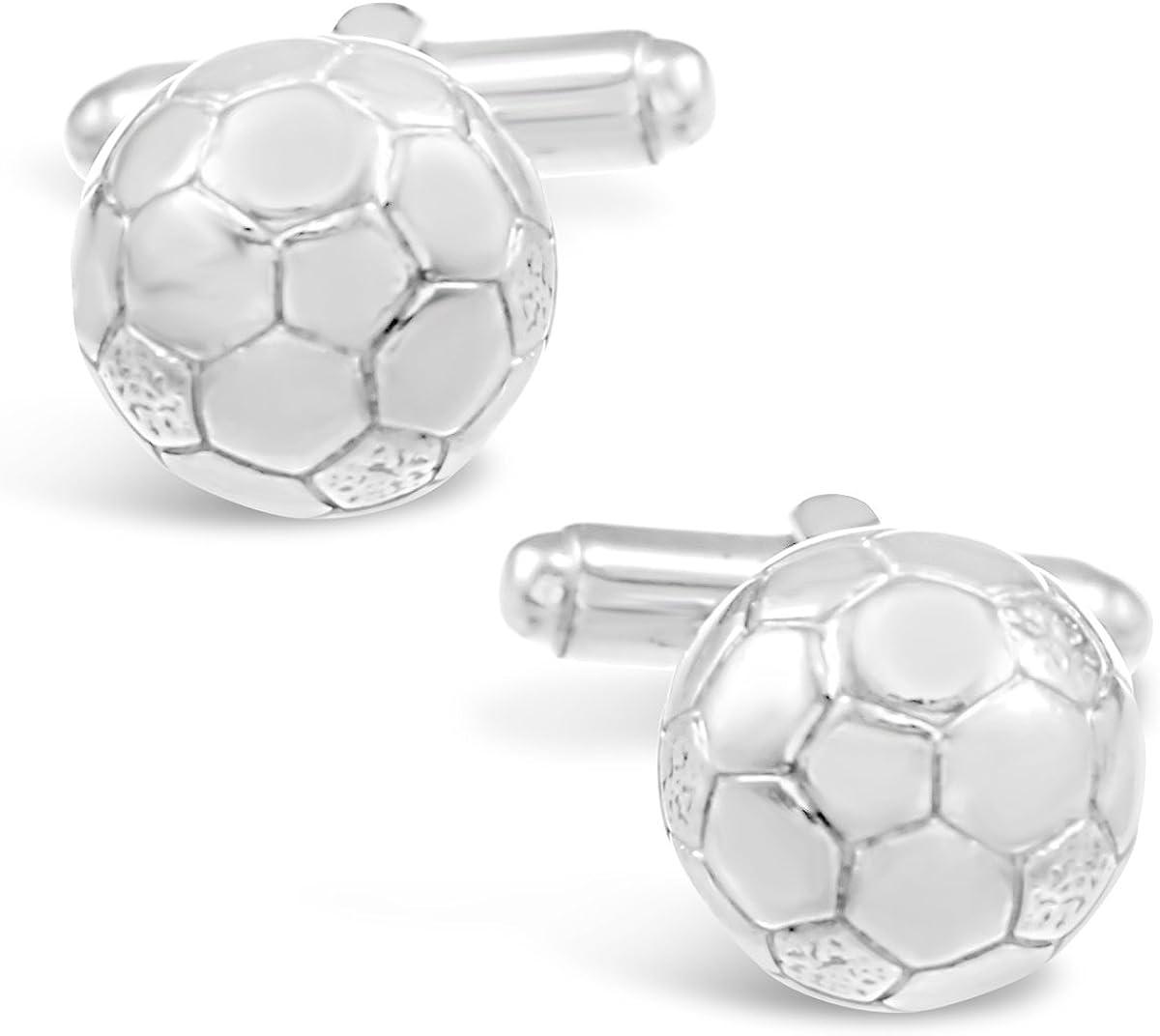 Gemelos de plata de ley con diseño de balón de fútbol, regalo para ...