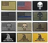 #2: WZT Bundle 12 pieces american flag Tactical Military Morale Patch Set