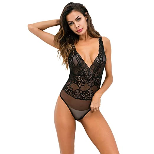 5da783d3cc30e BOLUOYI Lingerie for Women Women Lingerie Bodysuit Satin Pajamas Teddy Lace  Deep V-Neck Halter