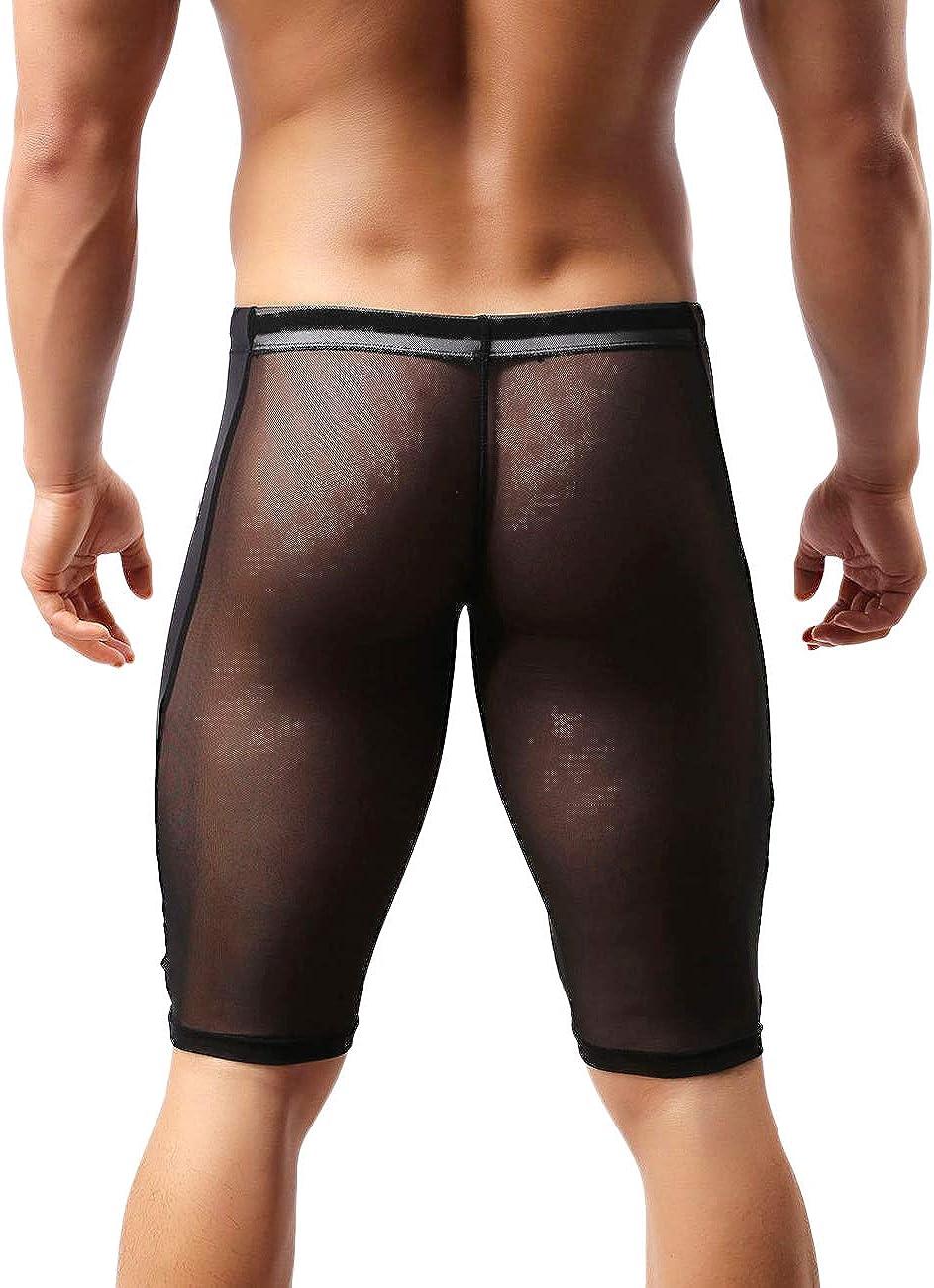 MIZOK Mens Fitness Mesh Shorts Yoga Capris See Through Jammer Swimsuit Beachwear