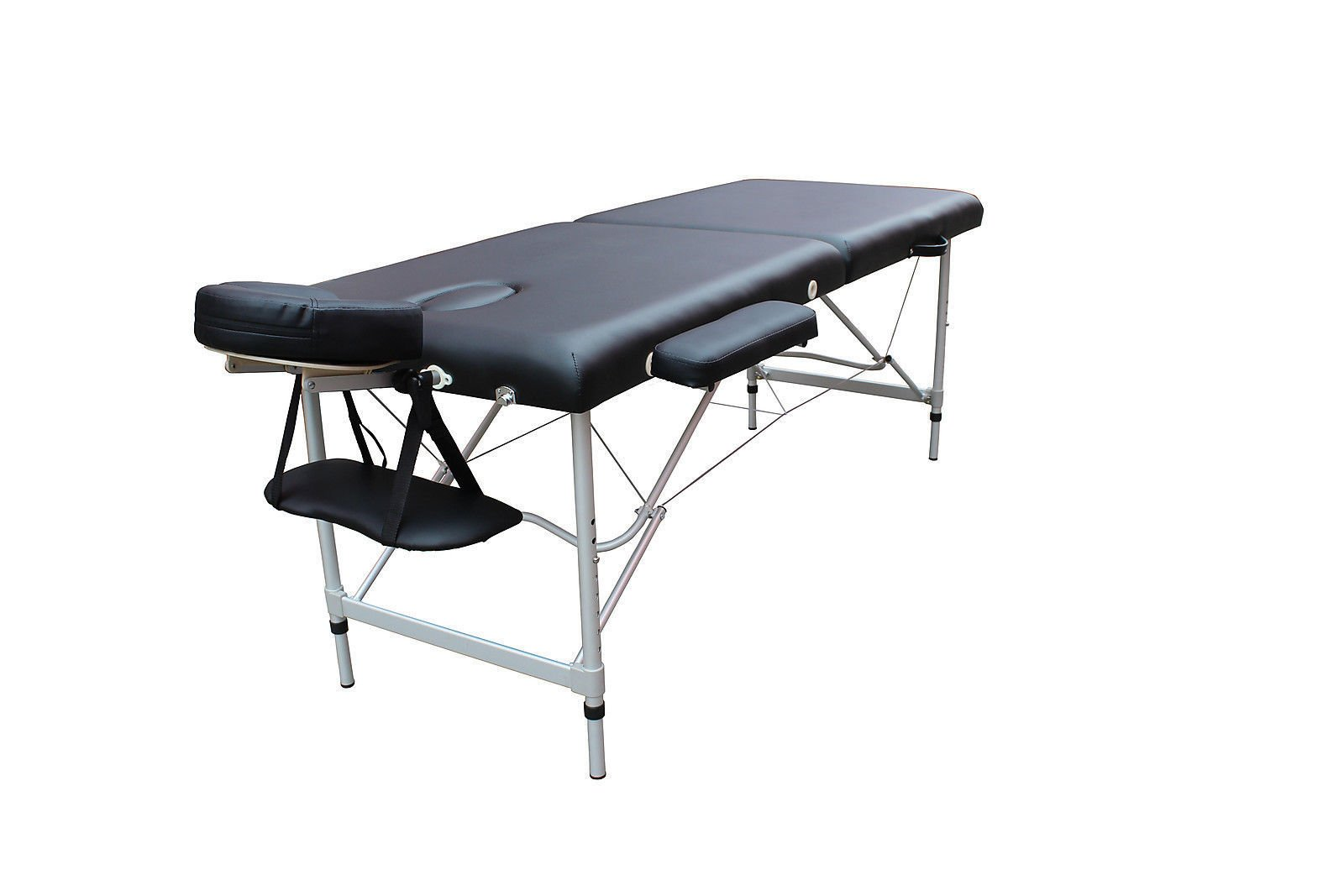 84''L Black 2 Fold Portable Massage Table Facial SPA Bed Tattoo w/Free Carry Case