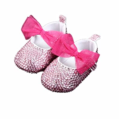 7aa585fe2 Image Unavailable. Image not available for. Color  Dollbling Christams  Bling Little Girl Pink Rhinestones Handmade Crystal Baby Shoes ...
