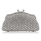 Milisente Women Evening Bag Vintage Gillter Crystal Rhinstone Clutches Purse for Banquet (Silver)