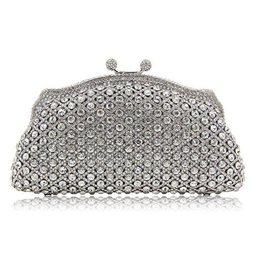 Lined Vintage Clutch (Milisente Women Evening Bag Vintage Gillter Crystal Rhinstone Clutches Purse for Banquet (Silver))