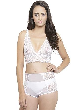 a0b73d9cf74 N-Gal Women s Wireless Lace Sheer Bra   High Rise Panty Bridal Lingerie Set
