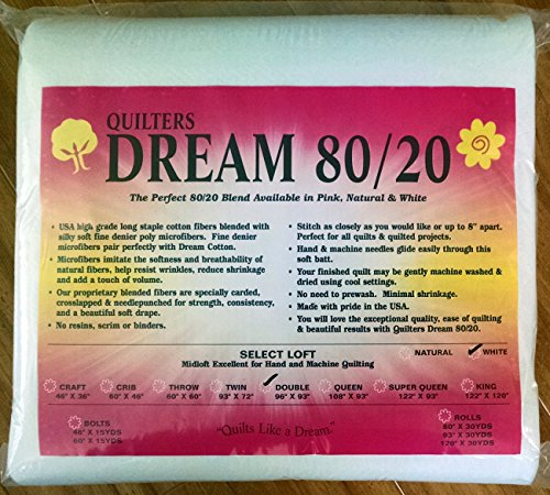 Quilter's Dream 80/20, White, Select Loft Batting - Double Size (20 Cotton Batting)