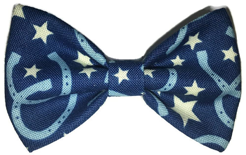 Sunflower Freckles Bow Tie Blue Horseshoes
