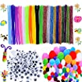 550 Pcs Craft Supplies Set - Pipe Cleaners Set Which Includes 200Pcs Chenille Stems, 150Pcs Self-sticking Wiggle Googly Eyes and 200Pcs Pompoms for DIY School Art Projects by BellaBetty
