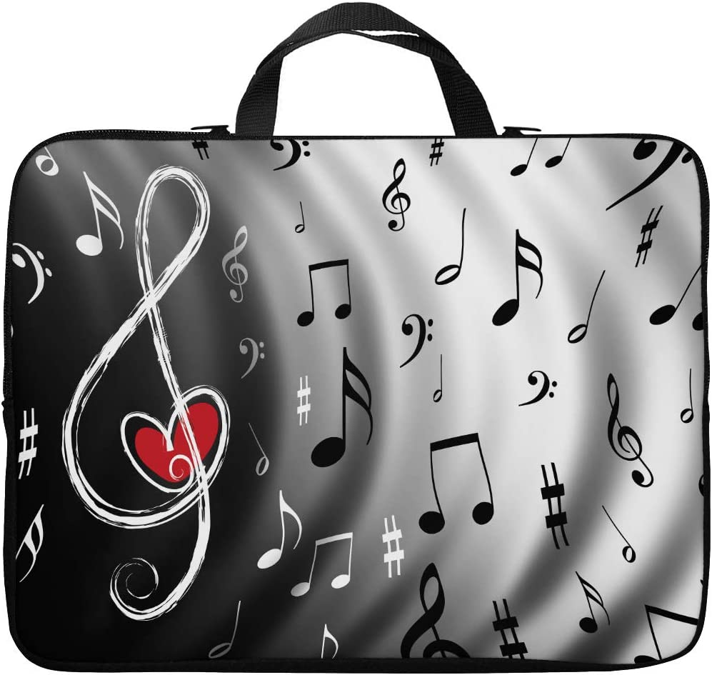 Britimes Laptop Case Protection Bag, Music Note Heart Piano Sing Song Red Swirl White Black Wave Artistic Curl 11 12 13 inch Neoprene PC Computer Sleeve Waterproof Notebook Handle Carrying Bag