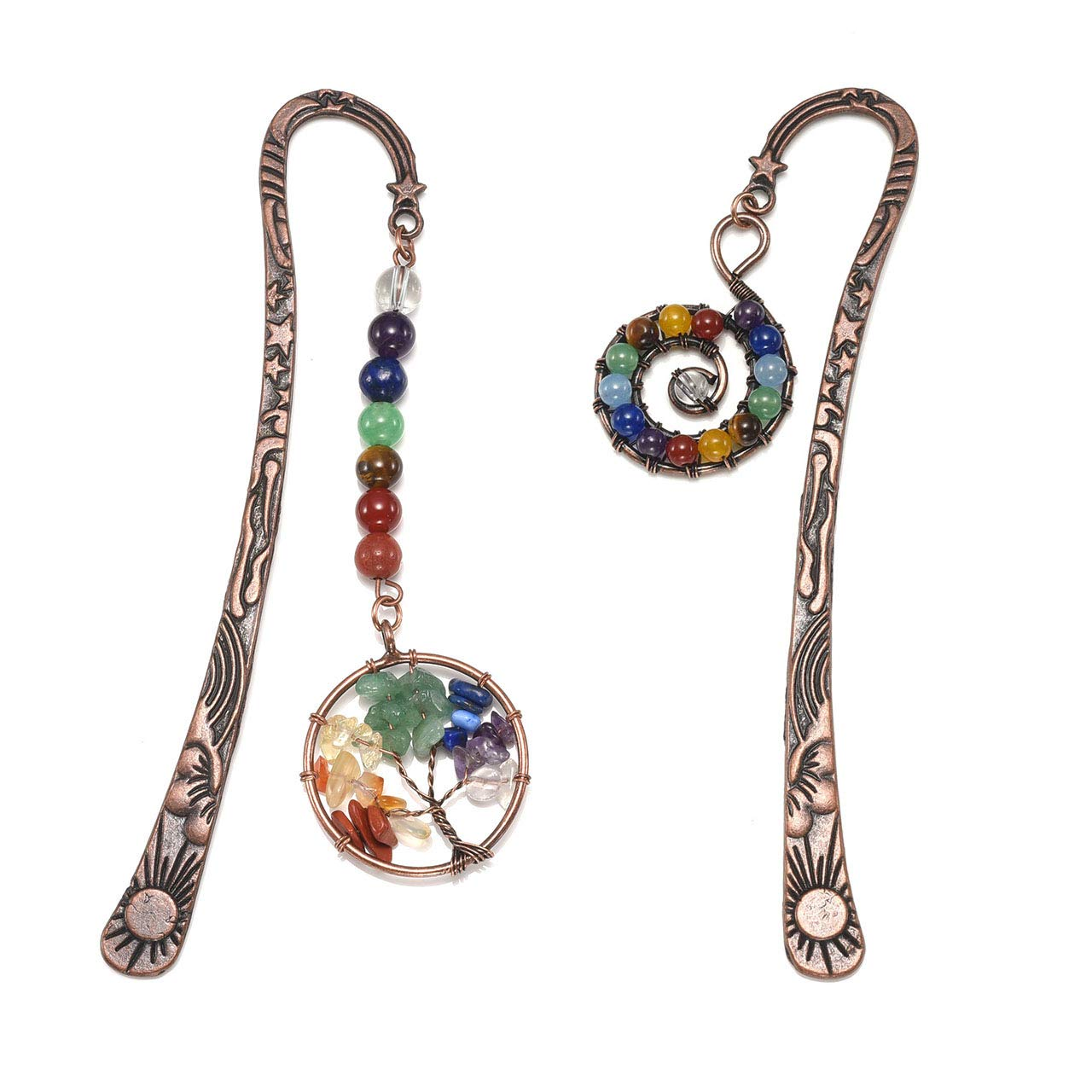 JOVIVI Anqitue Copper Metal Beading Bookmarks Pagemarker with Handmade 7 Chakra Healing Crystals Tree of Life Tumbled Gemstones/Swirl Round Beads Dangle (Mixed 2pcs)