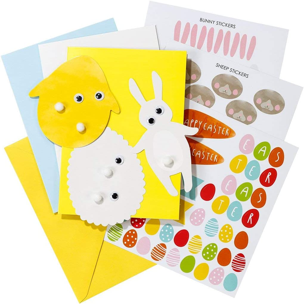 Easter Activities Kit for 12 Easter Cards with Easter Stickers and More Easy Easter Crafts for Kids