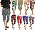 LA12ST Women's Loose Outdoor Stretch Aztec Tribal Spring Floral Printed Harem Capri Cropped Pants
