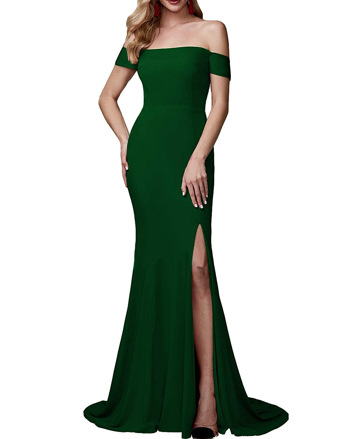 Dark Green Sulidi Women's Mermaid Off Shoulder Prom Dresses with High Slit Bridesmaid Evening Party Gowns C071