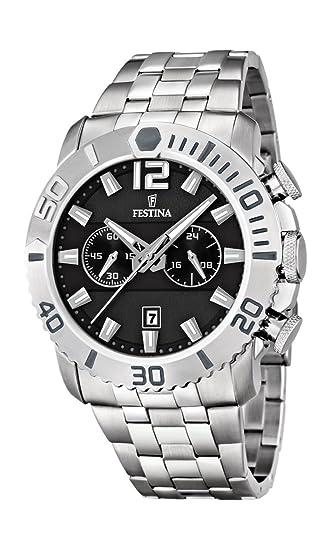 Festina F16613/4 - Reloj cronógrafo de Cuarzo para Hombre con Correa de Acero Inoxidable, Color Plateado: Amazon.es: Relojes
