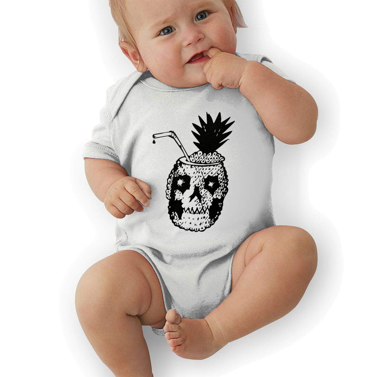 BONLOR A Black Melancholy Skull Pineapple Baby Rompers One Piece Jumpsuits Summer Outfits Clothes