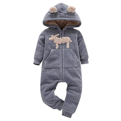 TM Jchen Newborn Girl Boy Winter Thick Keep Warm Jacket Hooded Long Sleeve Jumpsuit Playsuit for 0-24 Months