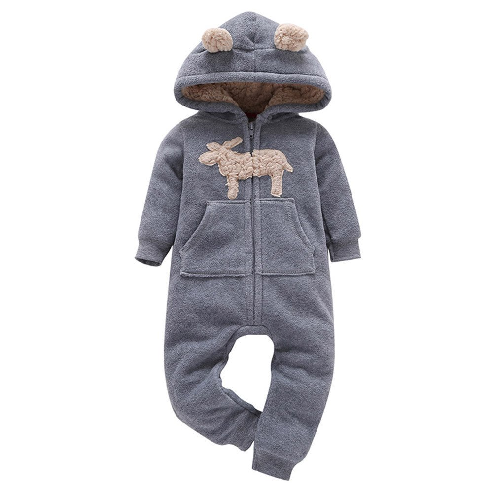 Baby Boy Girl Bodysuit Hooded Fleece Romper Infant Warm Onesies 6-24M