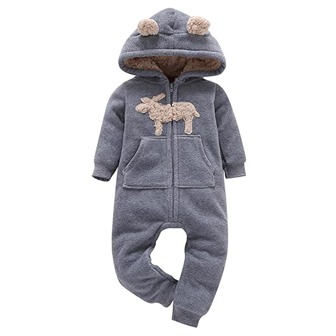 5f943c31c1c Iuhan Baby Boys Girls Fashion Thicker Print Hooded Romper Jumpsuit Outfit Kid  Clothes  Amazon.in  Clothing   Accessories