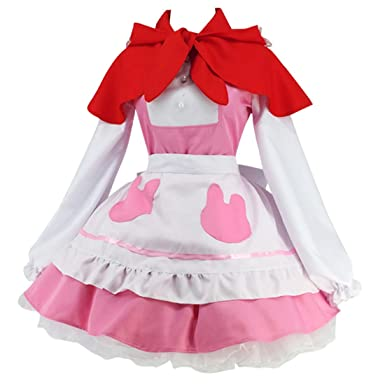 Ainiel Women s Anime Cosplay Lolita Apron Dress with Cloak Stocking (Small) 60fb3aeac