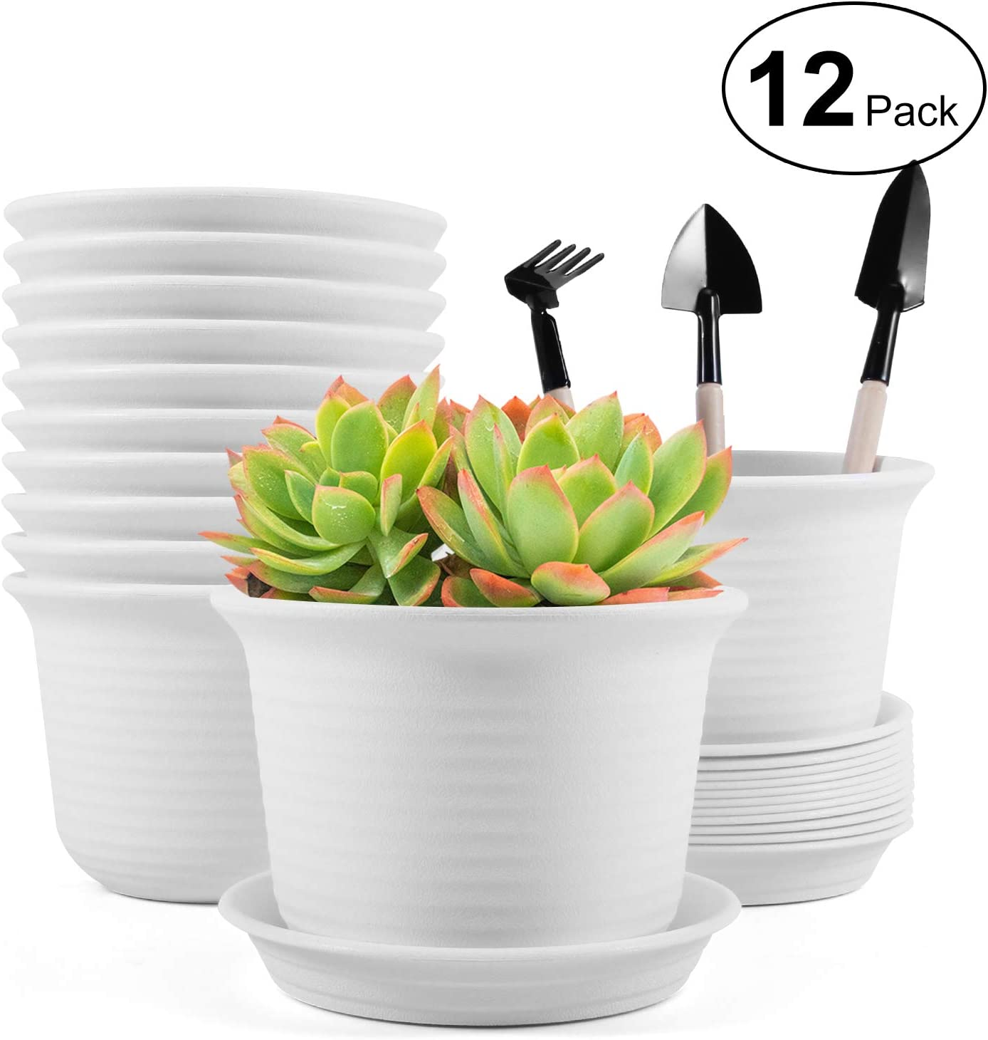 Plastic Planters, 12Pcs Flower Plant Pots, Indoor & Outdoor Modern Decorative Gardening Pot with Drainage Hole and Pallet for All House Plants, Herbs, Seedlings, Nursery, Succulents and Cactus - White