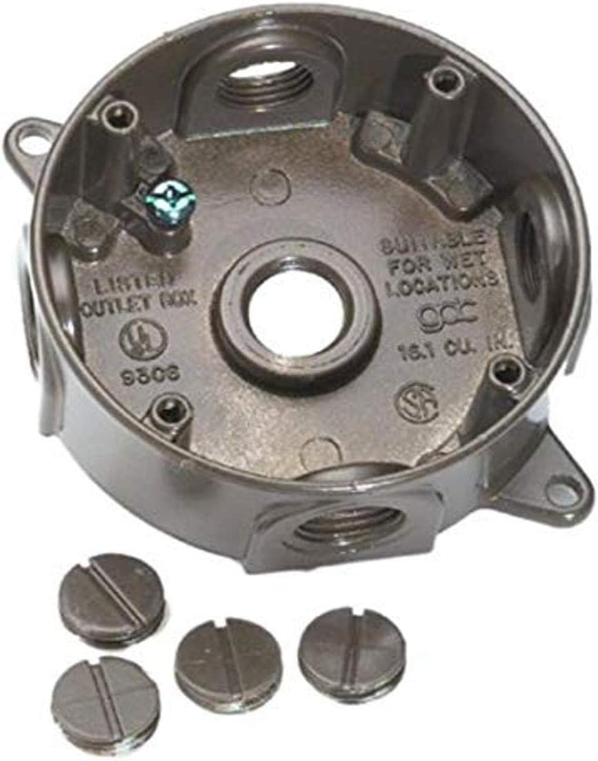 Bell GRAY 4 In Weatherproof Outdoor Round Box  5 HOLE 5361-0 518727